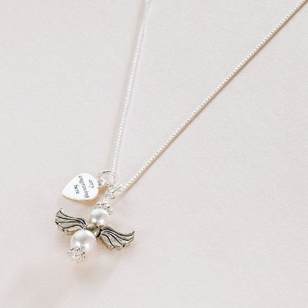Pearl Angel Necklace with Engraved Heart Tag